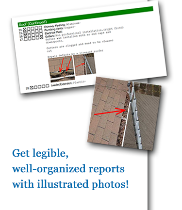 Get legible, well-organized report with illustrated photos!